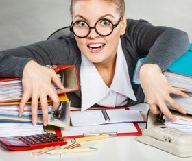 Angry female secretary at work pressure Stock Photo 02