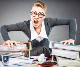 Angry female secretary at work pressure Stock Photo 03