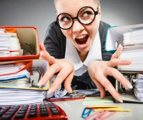 Angry female secretary at work pressure Stock Photo 04