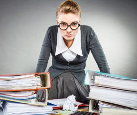 Angry female secretary at work pressure Stock Photo 05