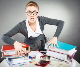 Angry female secretary at work pressure Stock Photo 06