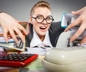 Angry female secretary at work pressure Stock Photo 07