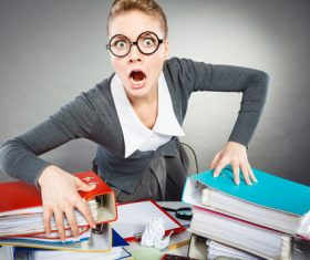 Angry female secretary at work pressure Stock Photo 08