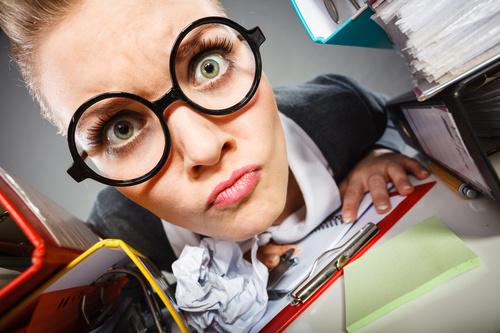 Angry female secretary at work pressure Stock Photo 09