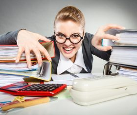 Angry female secretary at work pressure Stock Photo 11