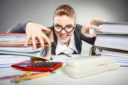 Angry female secretary at work pressure Stock Photo 11