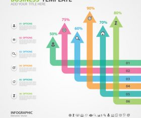 Arrow options infographics elements diagram vector 09