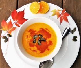 Autumnfall pumpkin soup Stock Photo