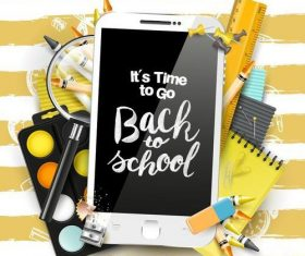 Back to school background with phone vector