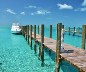 Bahamas yacht pier Stock Photo