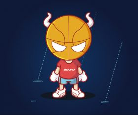 Basketball cartoon character vector