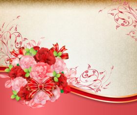 Beautiful flower greeting card template vector 01