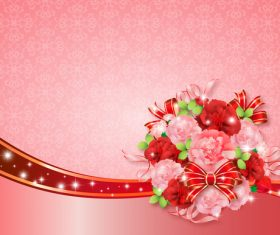 Beautiful flower greeting card template vector 02