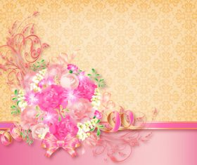 Beautiful flower greeting card template vector 05