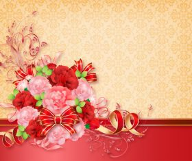 Beautiful flower greeting card template vector 06