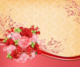 Beautiful flower greeting card template vector 07