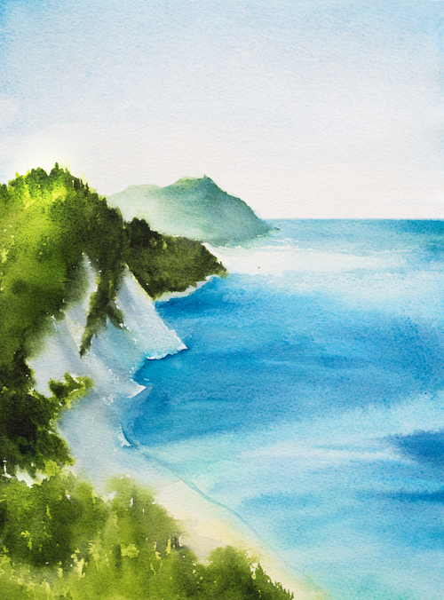 Beautiful seascapes watercolor vector background 01
