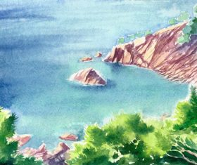Beautiful seascapes watercolor vector background 02