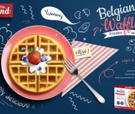 Belgian wattle poster template vector 01