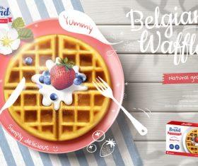 Belgian wattle poster template vector 02