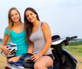 Best friend sitting on the motorcycle Stock Photo 05