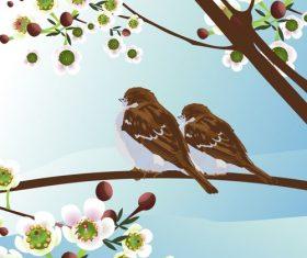 Bird illustration on spring tree vector