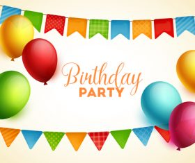 Birthday party background and colored balloon vector
