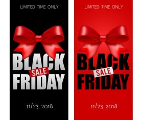 Black Friday sale banners with bows vector