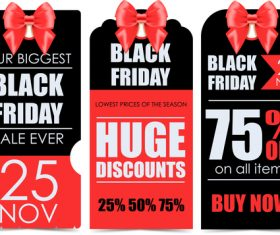 Black Friday sale discount vertical banners template vector