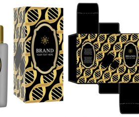 Black with golden package box with cosmetic vector