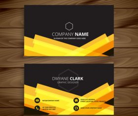 Black with yellow business card template vector
