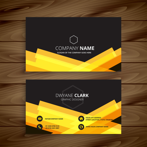 Black with yellow business card template vector free download black with yellow business card template vector fbccfo Image collections