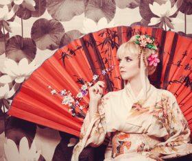 Blonde wearing japanese national costume Stock Photo