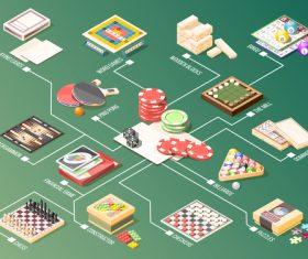 Board games isometric flowchart vector