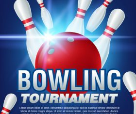 Bowling tournament poster design vector 01