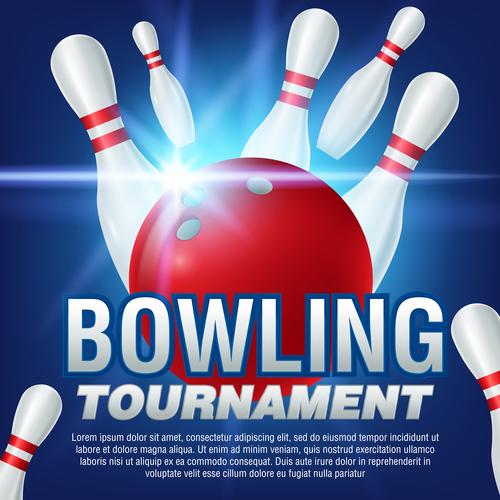 Bowling tournament poster design vector 01