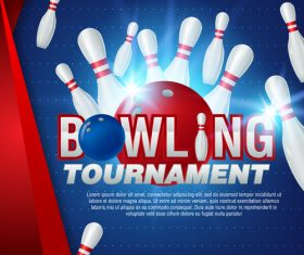 Bowling tournament poster design vector 02