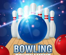 Bowling tournament poster design vector 03