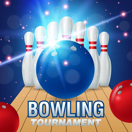 Bowling tournament poster design vector 03