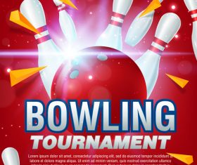 Bowling tournament poster design vector 04