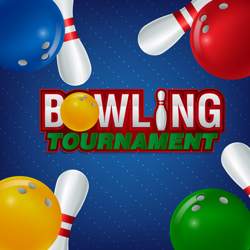 Bowling tournament poster design vector 05