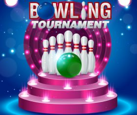 Bowling tournament poster design vector 06