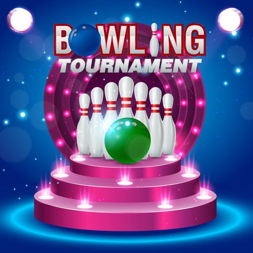 Bowling tournament poster design vector 06
