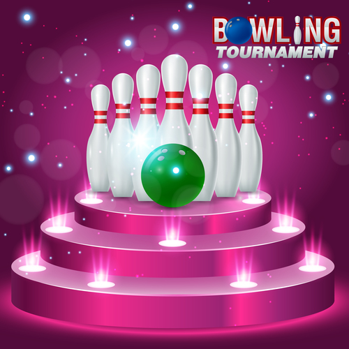 Bowling tournament poster design vector 07