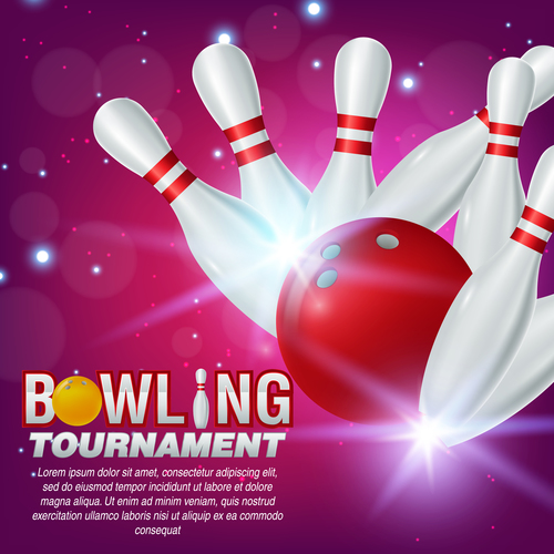 Bowling tournament poster design vector 09