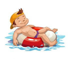 Boy with swimming ring vector