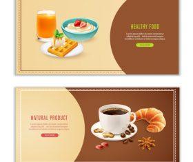 Breakfast realistic banners vector