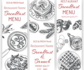 Breakfast with brunch menu card template vector 01