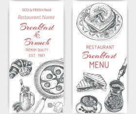 Breakfast with brunch menu card template vector 02