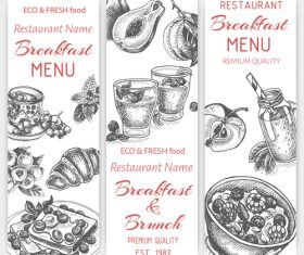 Breakfast with brunch menu card template vector 03
